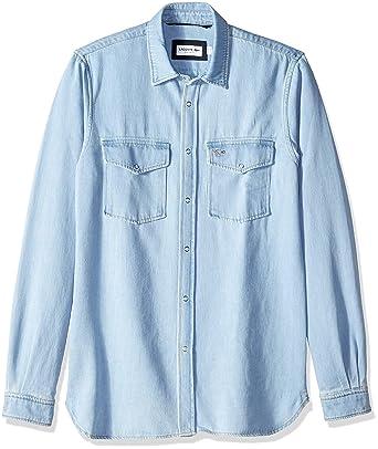 7f9af9ee91 Lacoste Men's Long Sleeve Reg Fit Blue Pack Denim Button Down