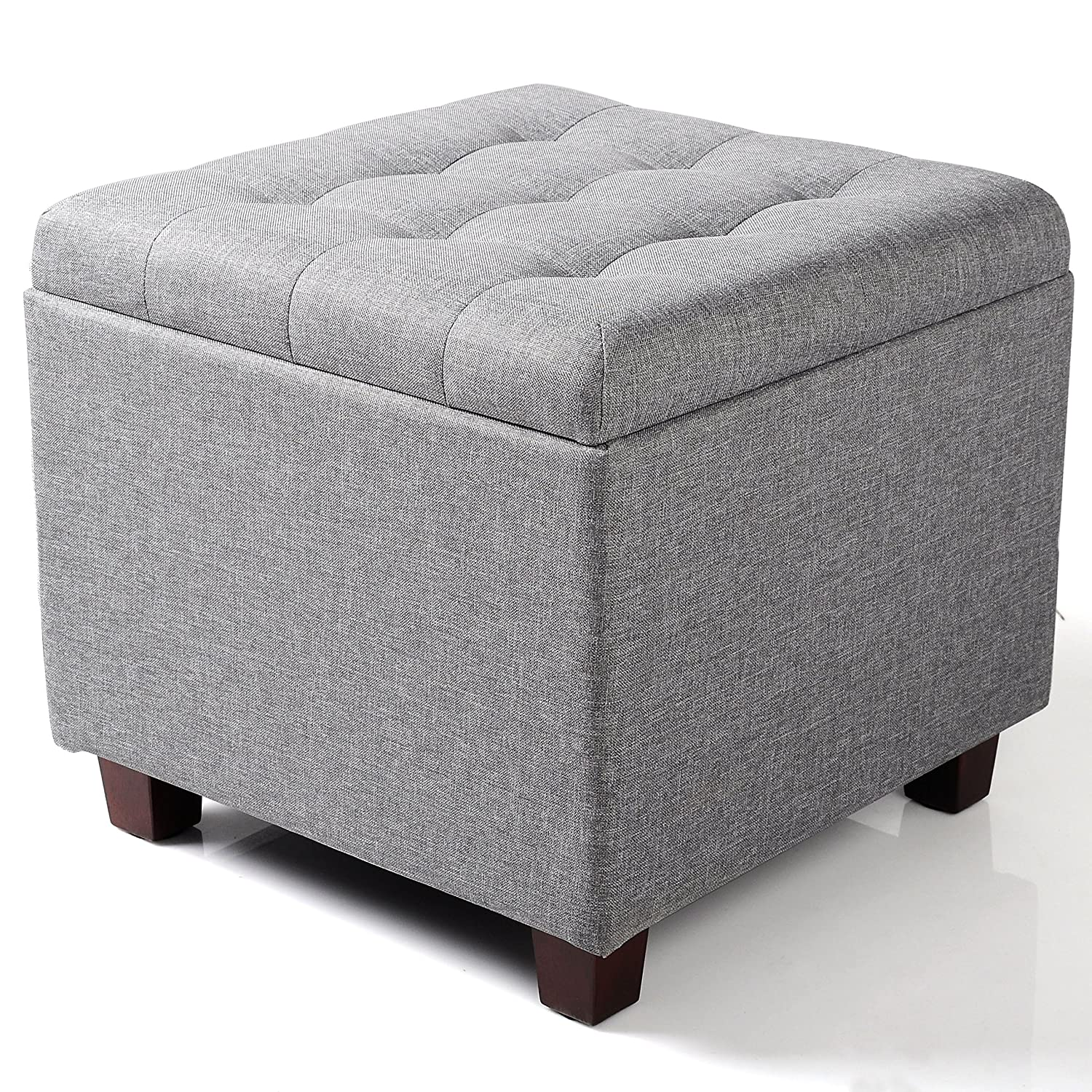 sneakers for cheap fa823 9a254 WOLTU SH18hgr Cube Stool with Storage Compartment/Storage Box/Removable  Lid/Linen Padded Seat 45 x 45 x 41 cm Light Grey