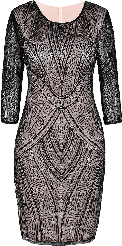 PrettyGuide Damen 1920er Flapper Kleid Perlen Deco Langarm Cocktail Gatsby Kleid