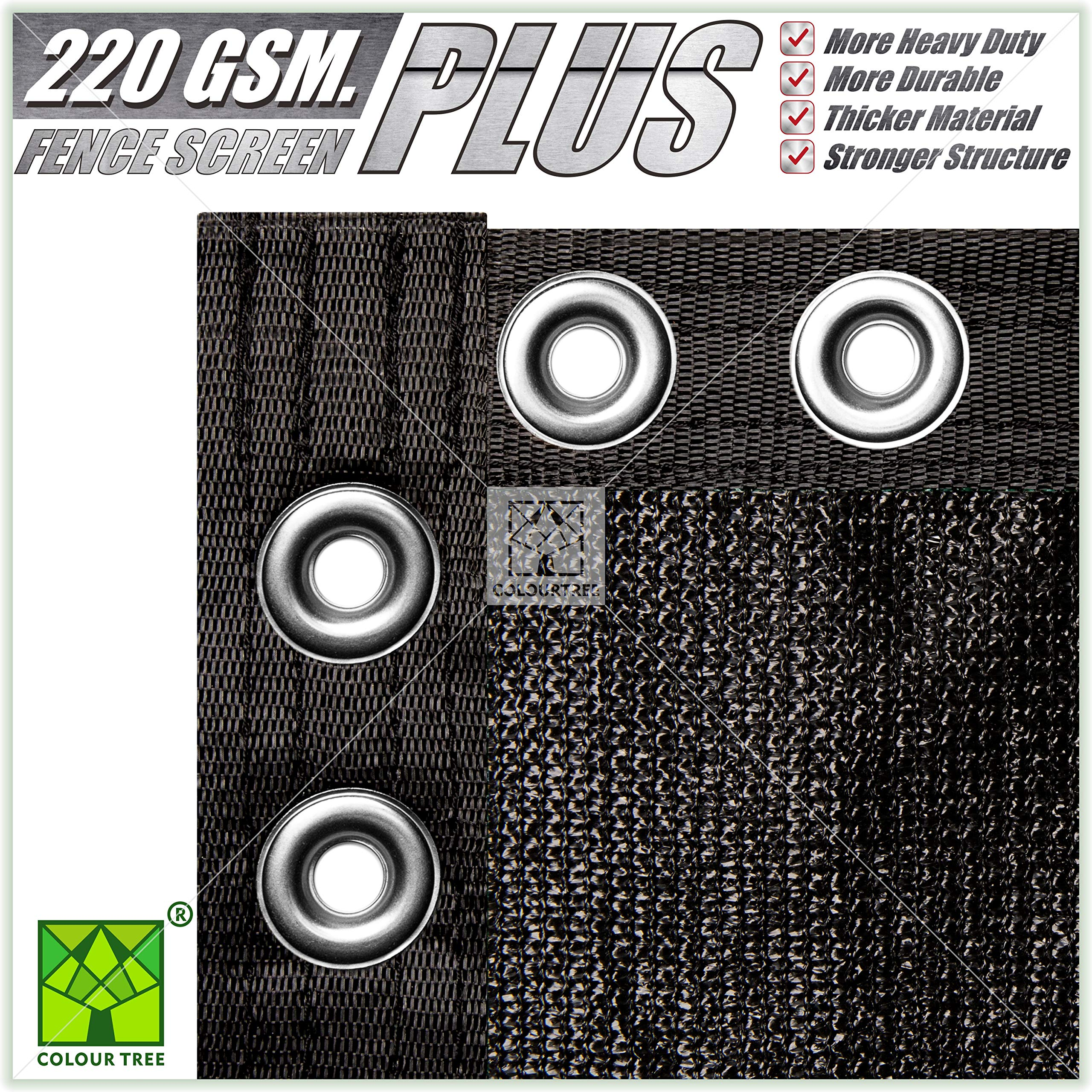 ColourTree Plus Extra Heavy Duty Fence Screen Privacy Screen - Commercial Grade 220 GSM - Heavy Duty - 3 Years Warranty (4' x 50', Black Plus)