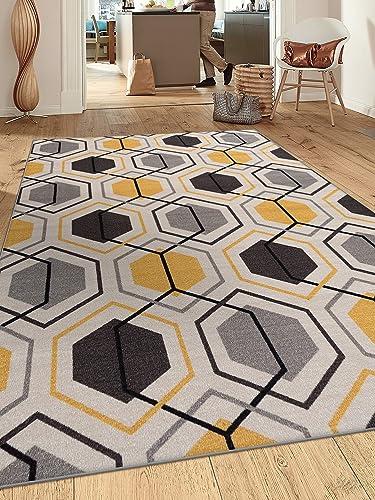 Contemporary Geometric Stripe Non-Slip Non-Skid Area Rug 5 X 7 5' 3″ X 7' 3″ Yellow