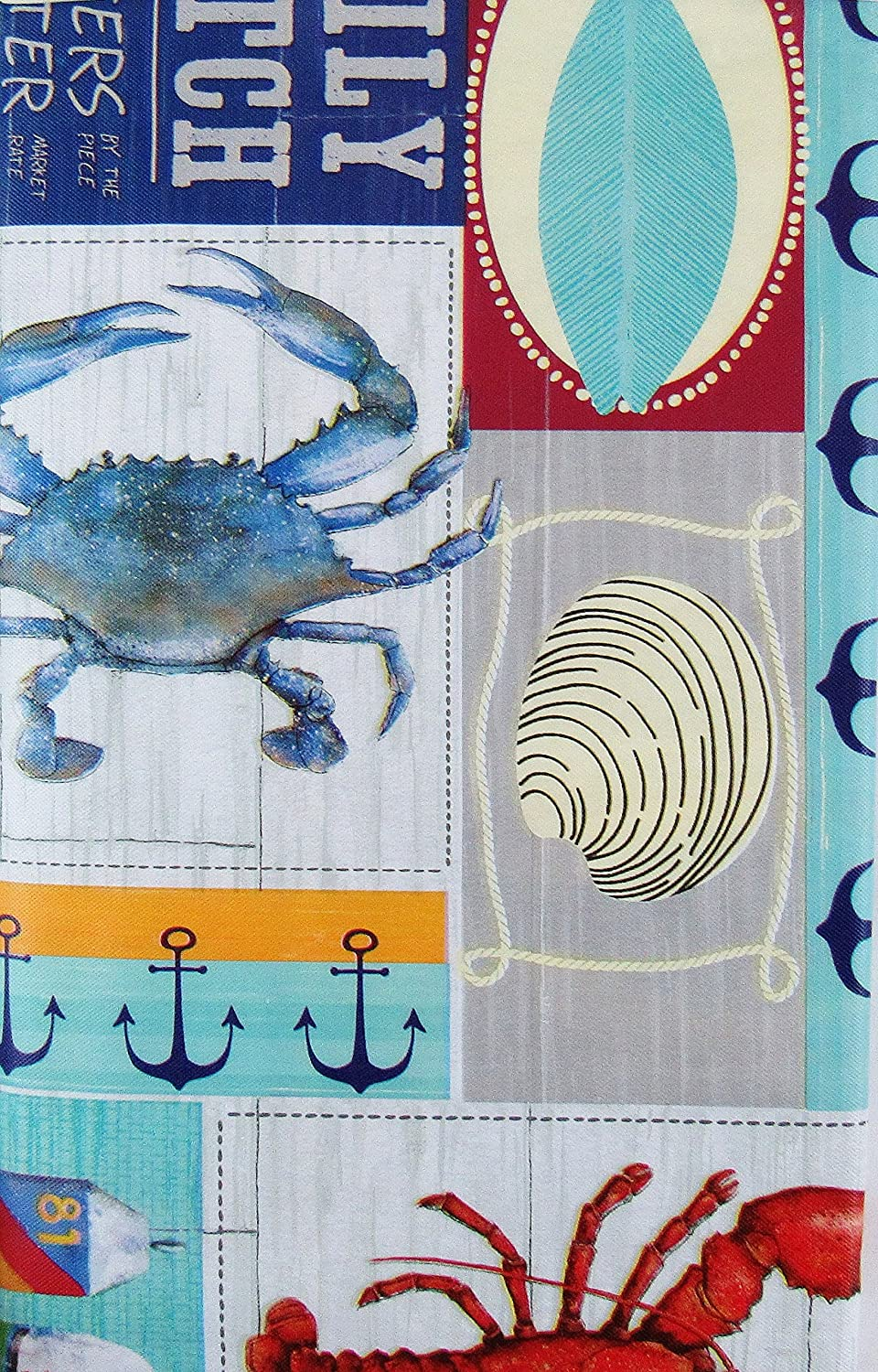 Elrene Home Fashions COMINHKPR149493 60 Round Daily Catch Boat Docks Patchwork Vinyl Flannel Back Tablecloth