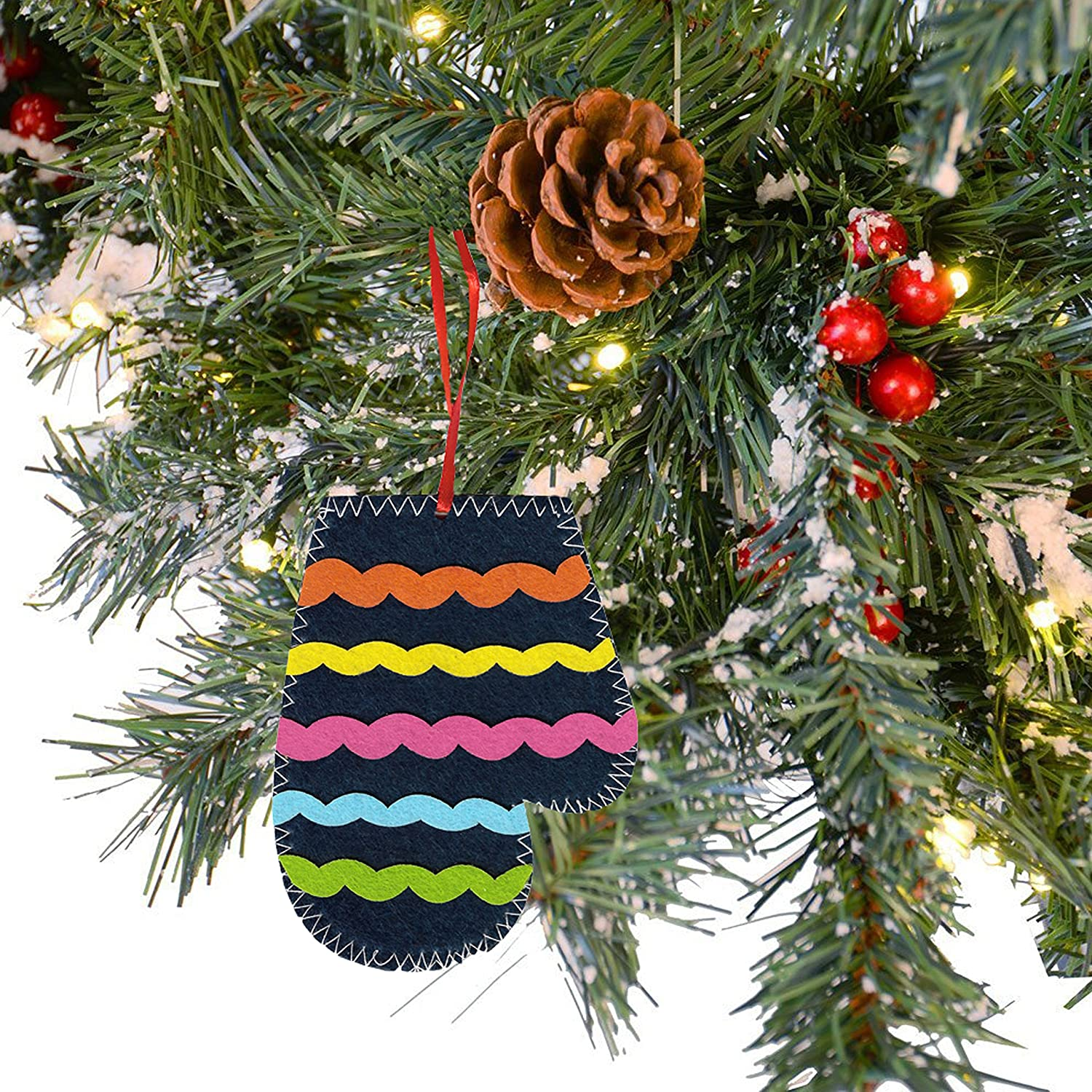 6 Oxford Novelties 6//12 Make Your Own DIY Felt Christmas Xmas Tree Hanger Decorations With PUFFY STICKERS