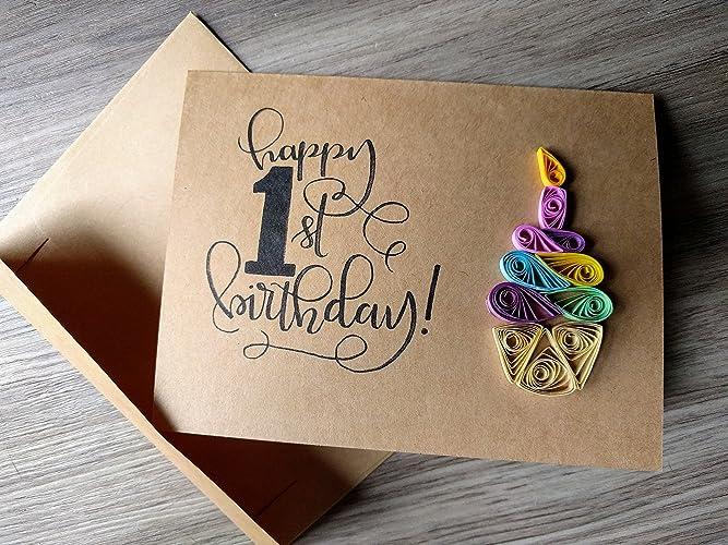 1st Birthday Cupcake Card HANDMADE In The USA Gender Neutral Baby Boy Girl Happy First