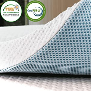 subrtex 4 Inch Gel-Infused Memory Foam Bed Mattress Topper High Density Cooling Pad Removable Fitted Bamboo Cover Ventilated Design-10 Years Warranty (Queen)
