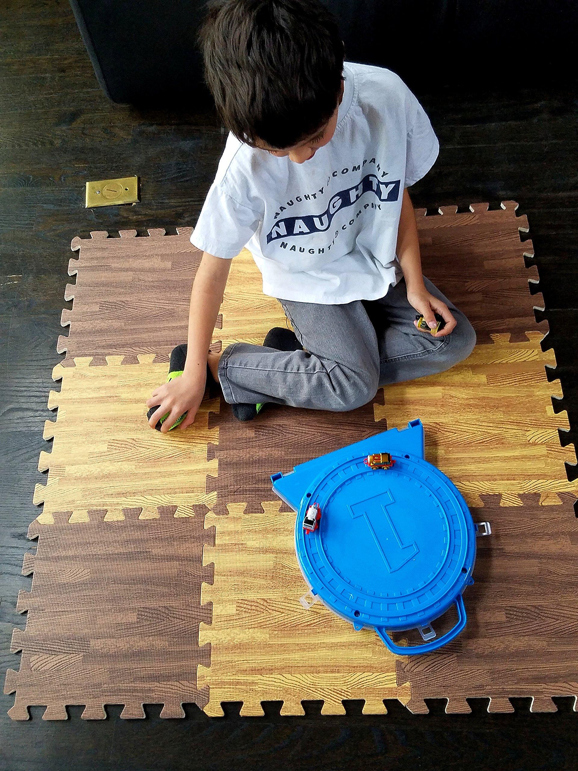 Interlocking Foam EVA Wood Grain Flooring Sets by Homeneeds (9 Piece - Dark Brown, Light Brown Wood Grain)
