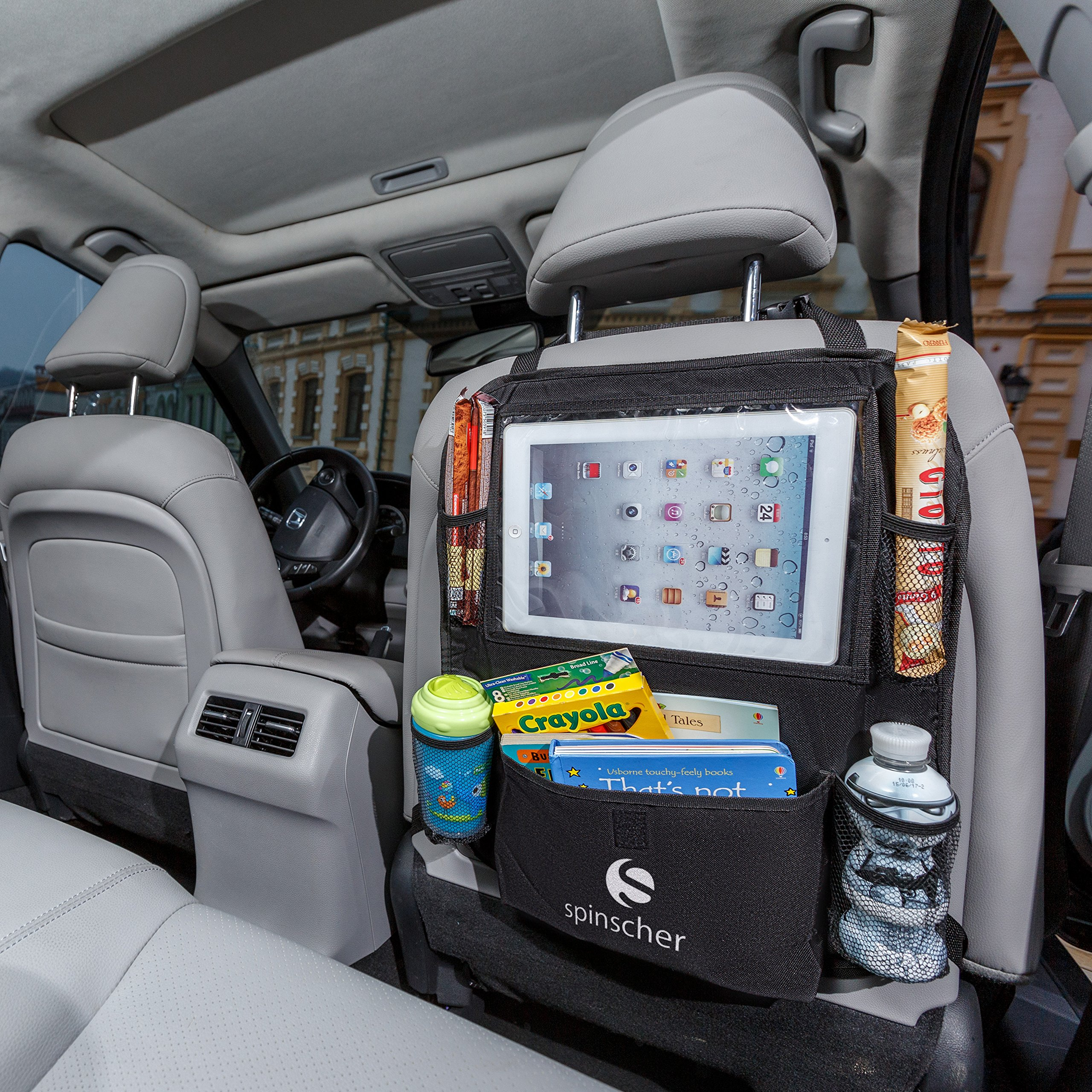 Car Back Seat Organizer with Tablet Holder by Spinscher — Multi-Pocket Road Trip Organizer for Kids — Back Seat Protector with Touch-Screen Viewing Window — Car Storage Organizer