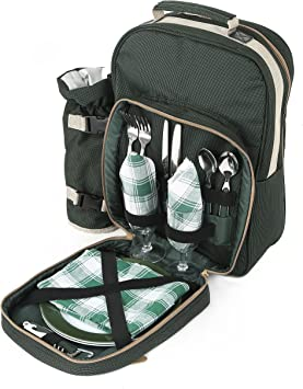 Greenfield Collection Luxury Forest Green Picnic Backpack Hamper for Four People