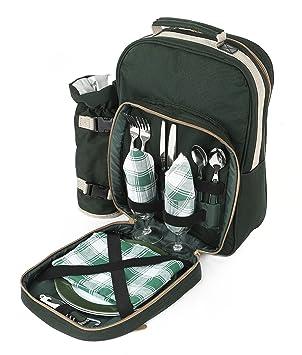 The Greenfield Collection BPD2DGH - Sac à dos de pique-nique Deluxe pour 2 personnes en Vert Forêt lXFvLK0vrX