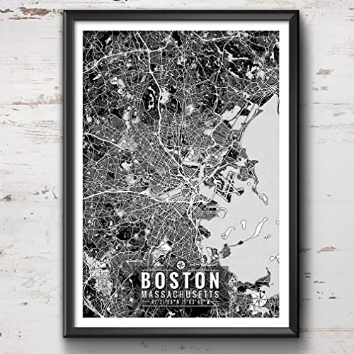 High Quality Boston Map With Coordinates, Boston Wall Art, Boston Map, Map Art, Map
