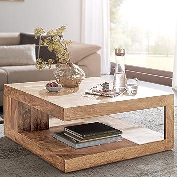 Finebuy Massiver Couchtisch Patan 90 X 90 Cm Mit Ablage Akazie Holz