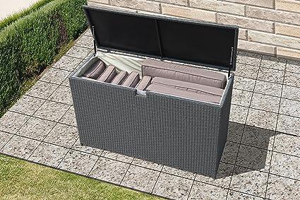 Super Patio Outdoor Storage Bin Deck Box, 120 Gallon Patio Aluminum Frame  Wicker Cushion Storage