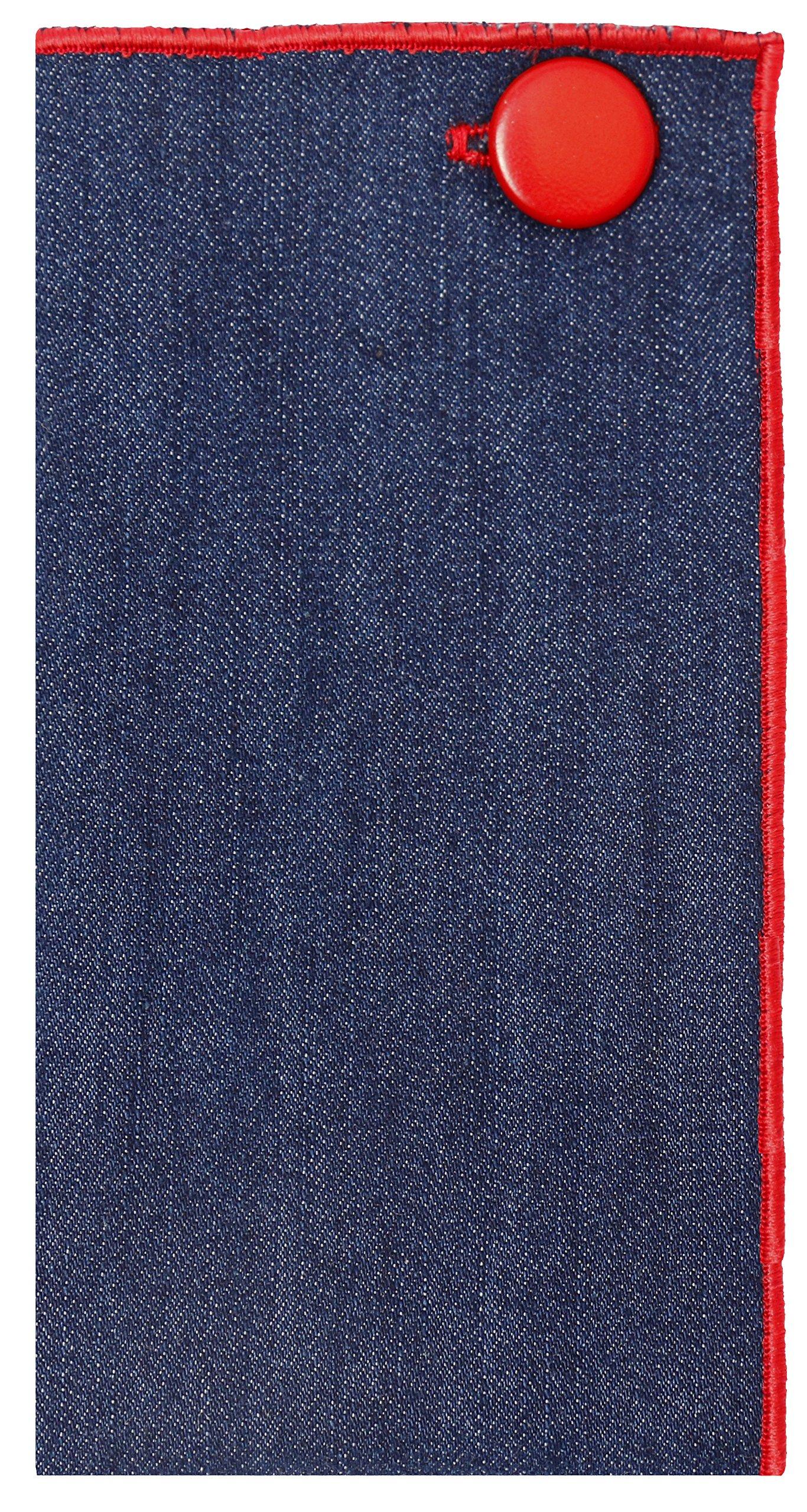 Dark Denim with Red Metal Button Men's Pocket Square by The Detailed Male by The Detailed Male (Image #2)