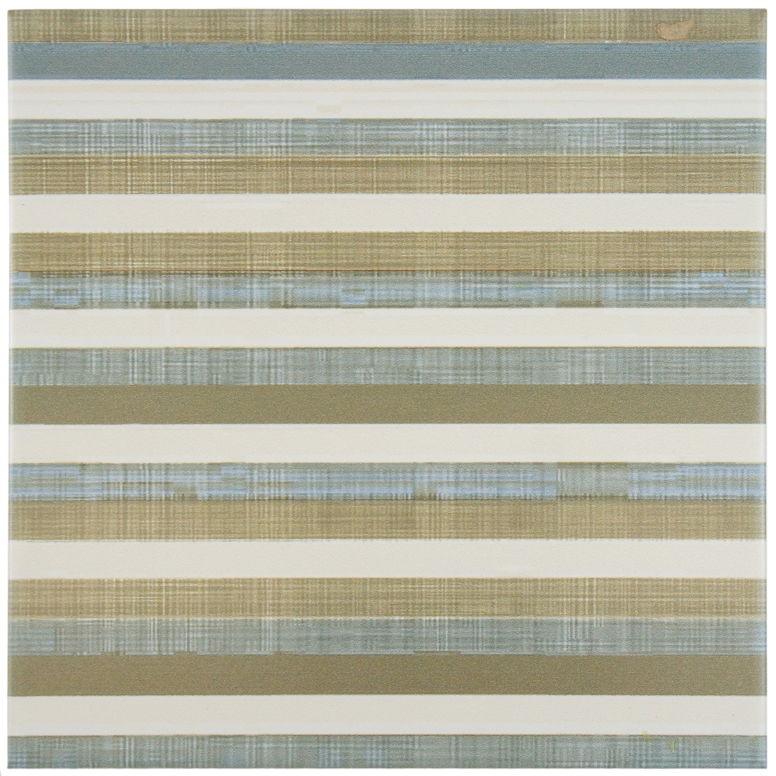 SomerTile FRC8BOHL Turin Ceramic Floor and Wall Tile, 7.75'' x 7.75'', Beige/Brown/Blue