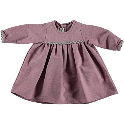 Vestido bebé niña 100% algodón, color rosa, manga larga. Precio outlet.