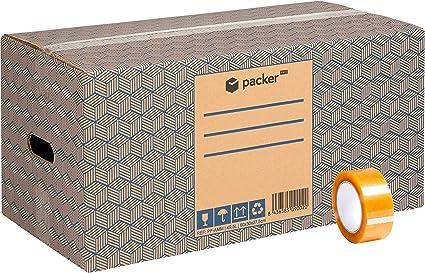 Pack 12 Cajas Carton para Mudanzas y Almacenaje Extra Grandes 600 x 300 x 275 mm Ultra Resistentes con Asas + Cinta Adhesiva, 100% ECO Box | packer PRO: Amazon.es: Oficina y papelería