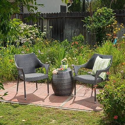 Superb Amazon Com A Lfheimr Outdoor 3 Piece Grey Wicker Stacking Andrewgaddart Wooden Chair Designs For Living Room Andrewgaddartcom