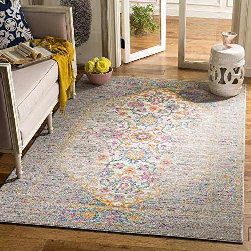 Safavieh Madison Collection MAD122G Light Grey and Fuchsia Bohemian Chic Distressed Area Rug 5 1 x 7 6