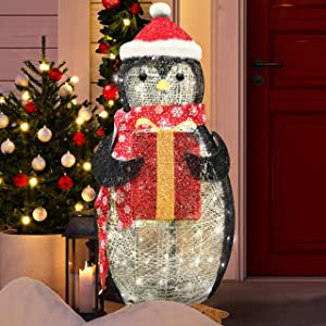 Joiedomi 3ft Cotton Penguin LED Yard Light for Christmas Outdoor Yard Garden Decorations, Christmas Event Decoration, Christmas Eve Night Decor