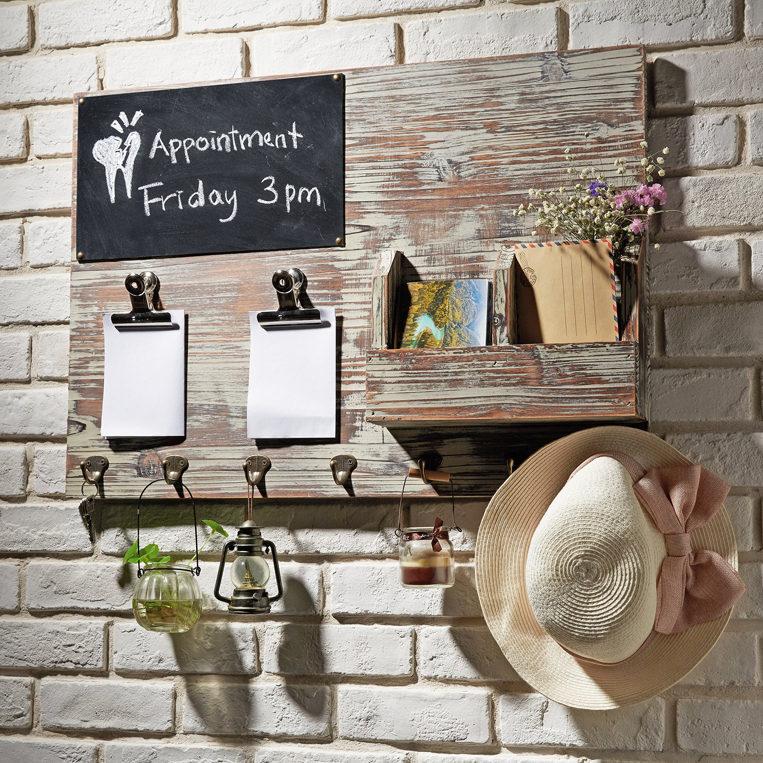 Torched Wood Wall Mounted Chalkboard Memo Clips, Mail Sorter and Key Hooks, Entryway All-in-One Organizer