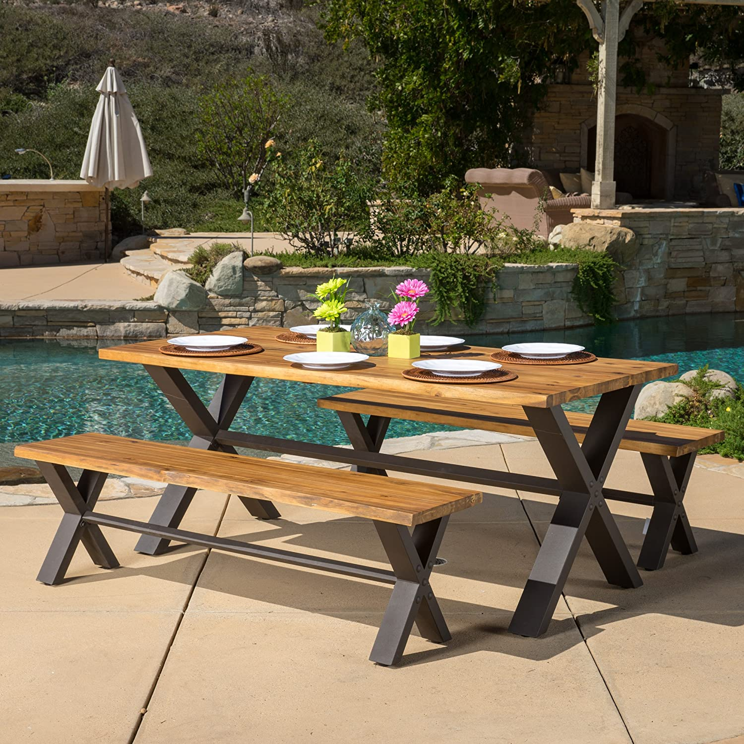 Amazon Laurel Outdoor 3 piece Solid Wood Dining Set Garden