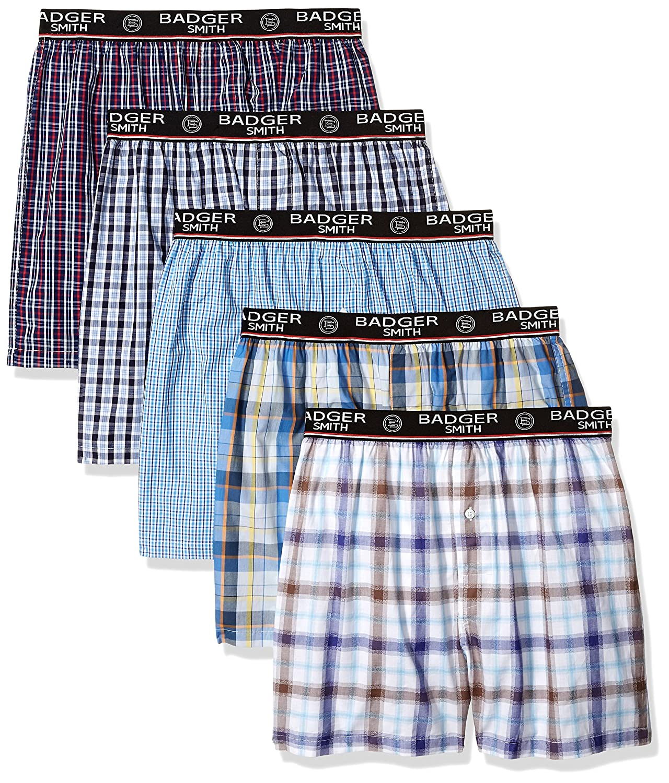 Badger Smith Men's 5 - Pack Cotton Checks Multicolor Boxer Shorts BSBXAW1801_MULTI_XXL