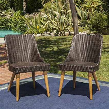 Strange Desmond Wicker Outdoor Dining Chairs Set Of 2 Perfect For Patio In Multibrown With Light Brown Finish Pabps2019 Chair Design Images Pabps2019Com