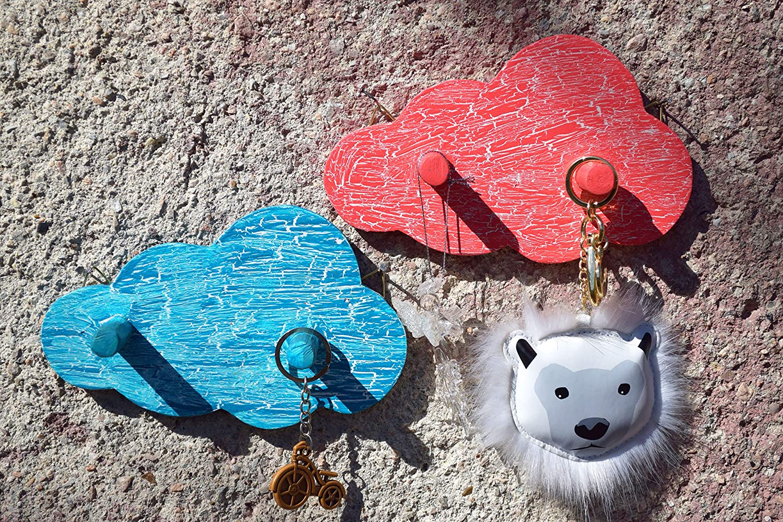 EMAKO Childrens wardrobe shelf with 4 coat hooks for childrens rooms nursery kids bedroom Cloud shape Wood Pink