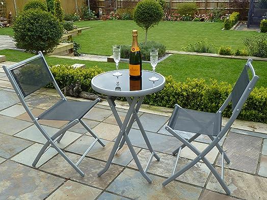 UK Gardens 3 Piece Bistro Set For 2   Folding Garden Patio Set For 2