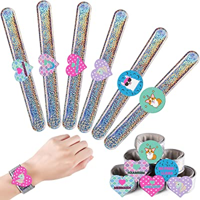 6 Cute Slap Bracelets for Kids, Glitter Slap Bracelets w/ 3D Mermaid, Unicorn, Llama & Corgi Designs, Birthday Party Favors, Easter Basket Stuffers, Snap Bracelet Pack Changes Patterns When Moved: Toys & Games