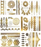 Premium Metallic Henna Tattoos - 75+ Mandala Boho Designs in Gold and Silver - Temporary Fake Shimmer Jewelry Tattoo - Flowers, Elephants, Bracelets, Wrist and Arm Bands (Jasmine Collection)