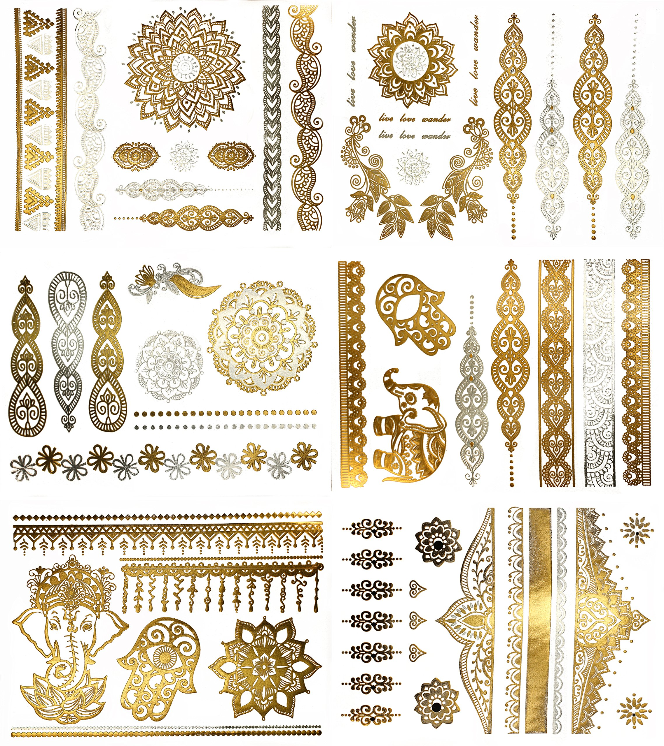 Amazon Com Nhi Metallic Temporary Tattoos 150 Flash Tattoos Gold