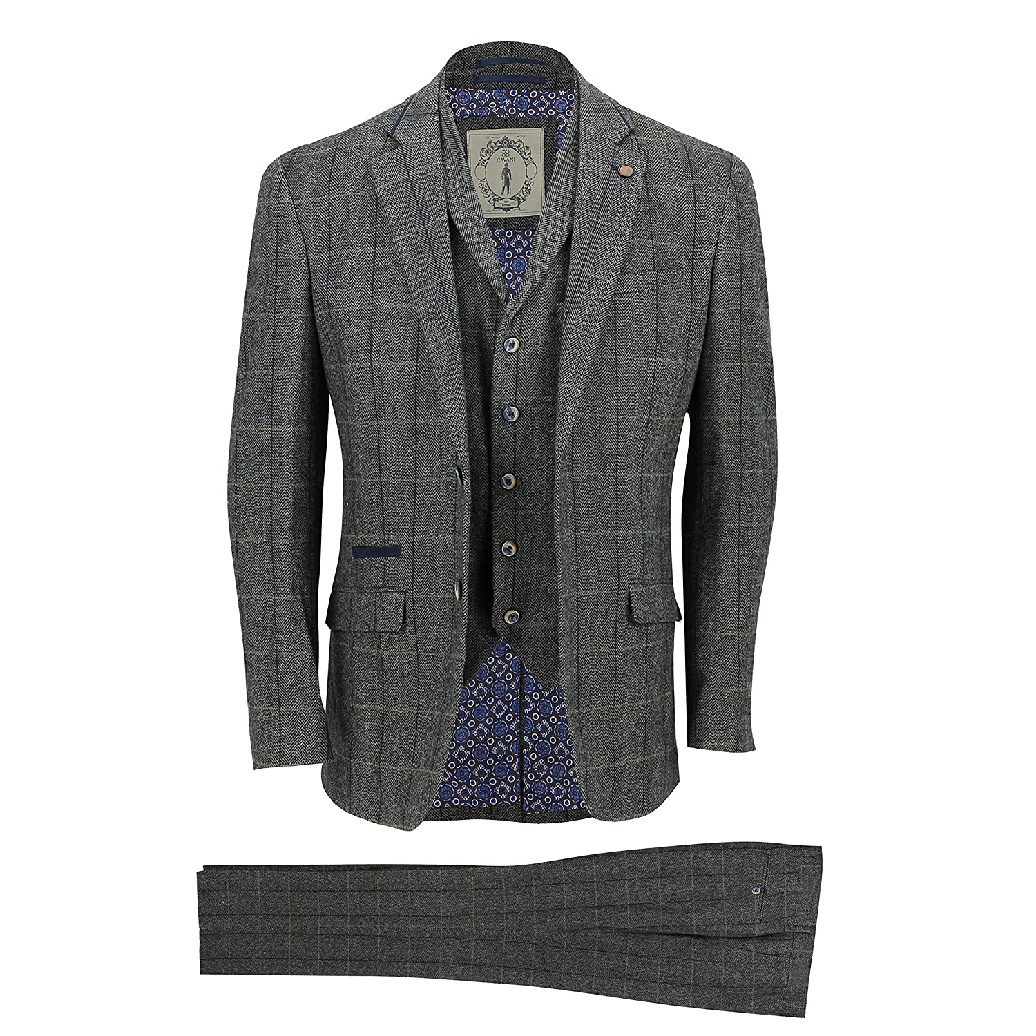 Cavani Mens 3 Piece Tweed Suit Vintage Herringbone Grey Check Retro Slim Fit Jacket, Waistcoat, Trousers