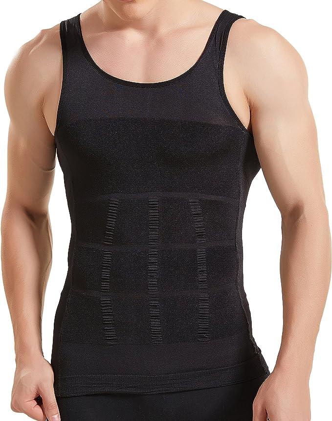 HANERDUN Mens Body Shaper Slimming Shirt Compression Vest Elastic Medium Black