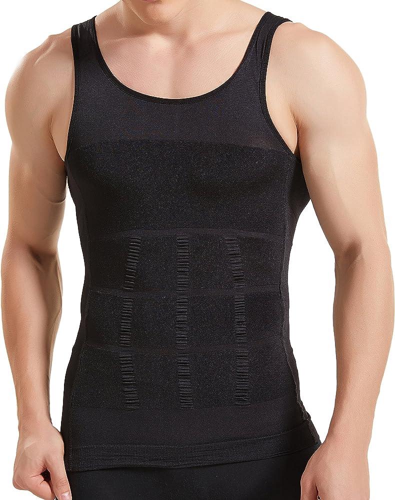 Kompressionsunterw/äsche I Herren Tanktop I figurformendes Unterhemd f/ür M/änner I Sport Fitness I T-Shirt Bodyshaper Bauchweg Wei/ß XXL