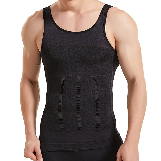 7450779e0e5c0 HANERDUN Mens Body Shaper Slimming Shirt Compression Vest Elastic Slim  Shapewear  Amazon.co.uk  Clothing
