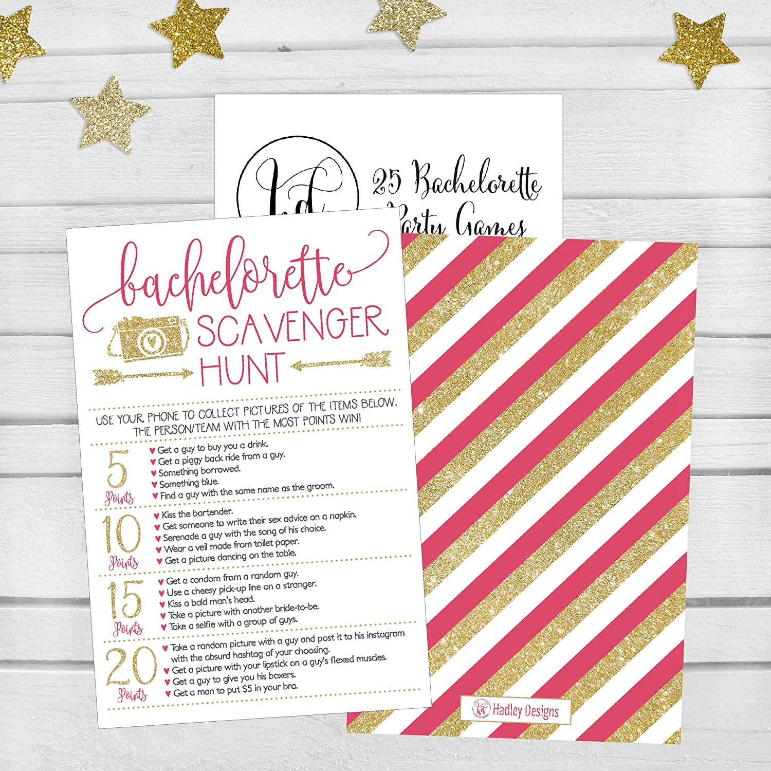 Amazon.com: 25 Bachelorette Scavenger Hunt Party Games, Girls Night ...