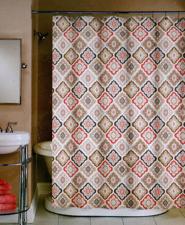 Amazon.com: Peri Fabric Shower Curtain Red, Gray, Beige, Black ...