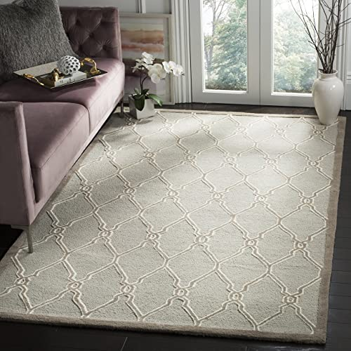 Safavieh Cambridge Collection CAM352L Handcrafted Moroccan Geometric Light Grey and Ivory Premium Wool Area Rug 9' x 12'