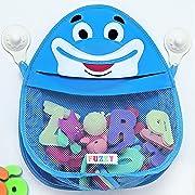 Bath Toy Organizer Storage - Blue Friendly Fish Bathtub Toy Holder with Mesh Storage Pouch and 2 Heavy Duty Suction Cups - Hanging Organizer for Baby Bath Toys