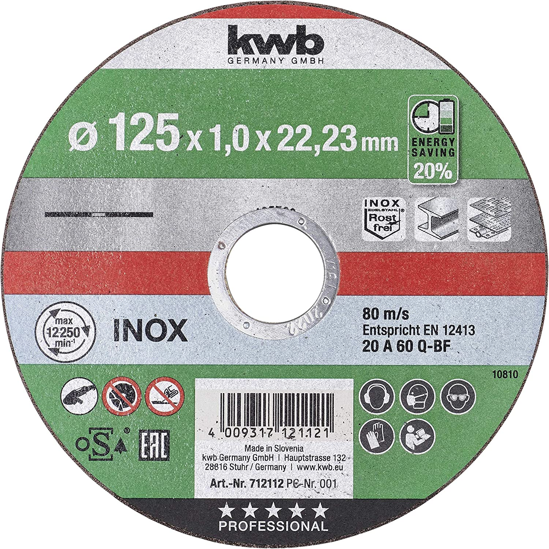 kwb 712112 AKKU-TOP Disque /à tron/çonner ultra fin 125 mm 125 x 1,0 pour meuleuse dangle Disque flexible Convient pour acier inoxydable m/étal 125 x 1,0 al/ésage 22,23 mm