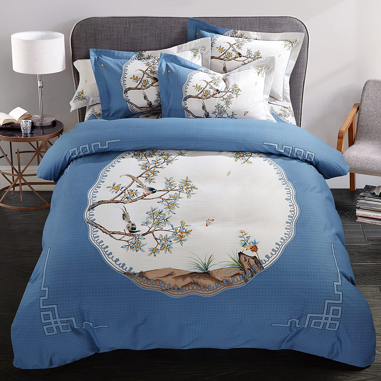 Beddinginn Bohemia Bedding Set Bird Duvet Cover Set 4pcs Cotton Bed Set Queen For Women King Size