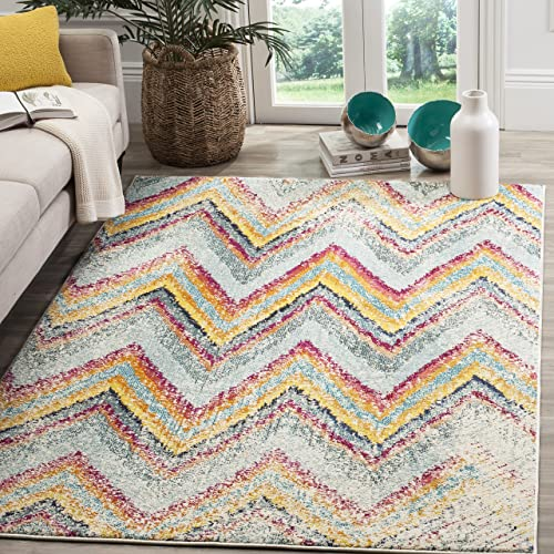 Safavieh Monaco Collection MNC220F Modern Chevron Stripe Multicolored Distressed Area Rug 8 x 11
