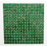 1/2 Sheet Sample Of Glass Mosaic Tile Sheet Amsterdam Meadow Green Gold Dust