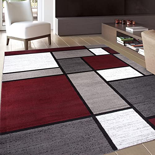 Contemporary Modern Boxes Area Rug 9' X 12' Red