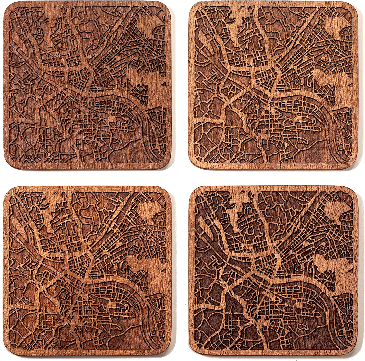 Pittsburgh Map Coaster by O3 Design Studio, Set Of 4, Sapele Wooden Coaster With City Map, Handmade