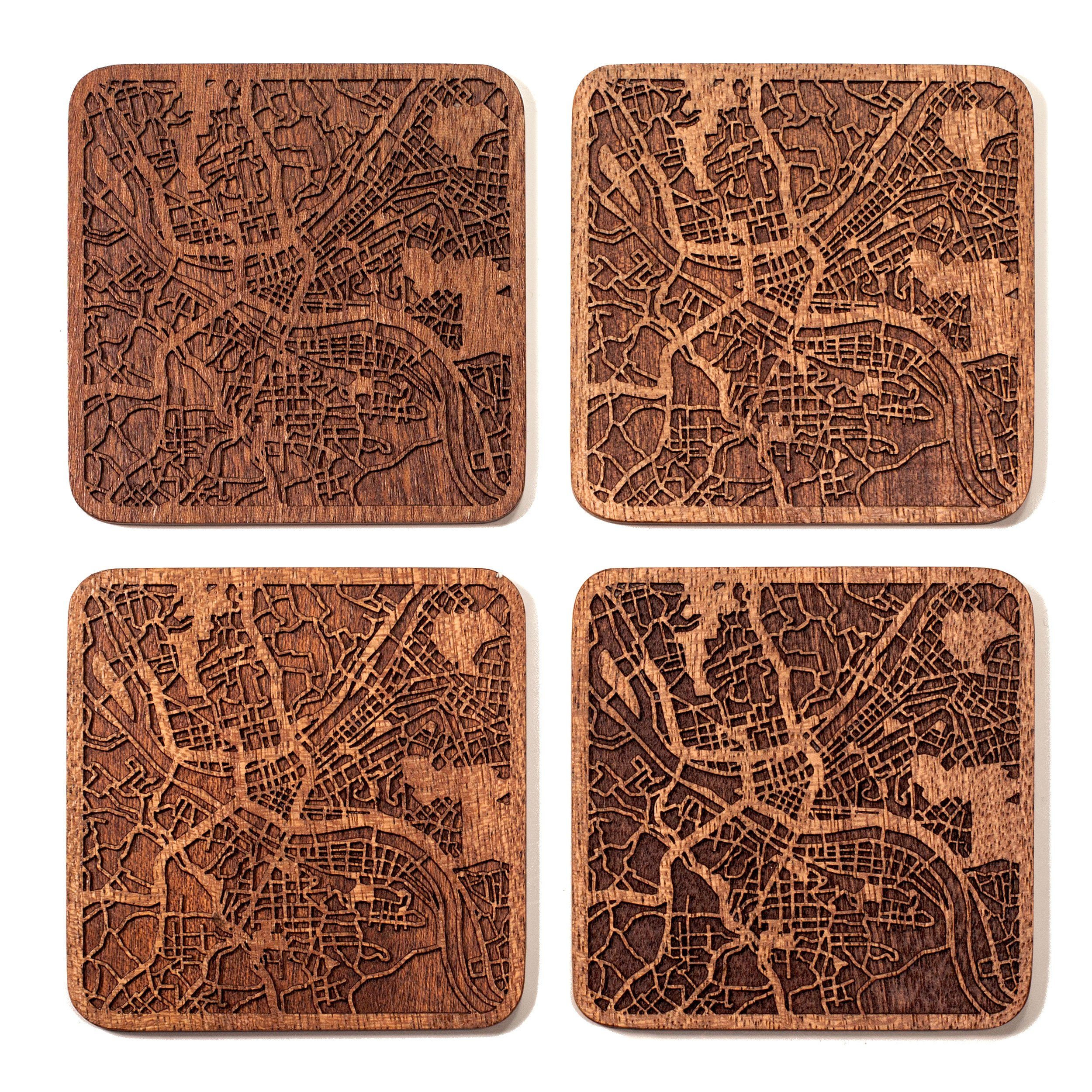 Pittsburgh Map Coaster by O3 Design Studio, Set Of