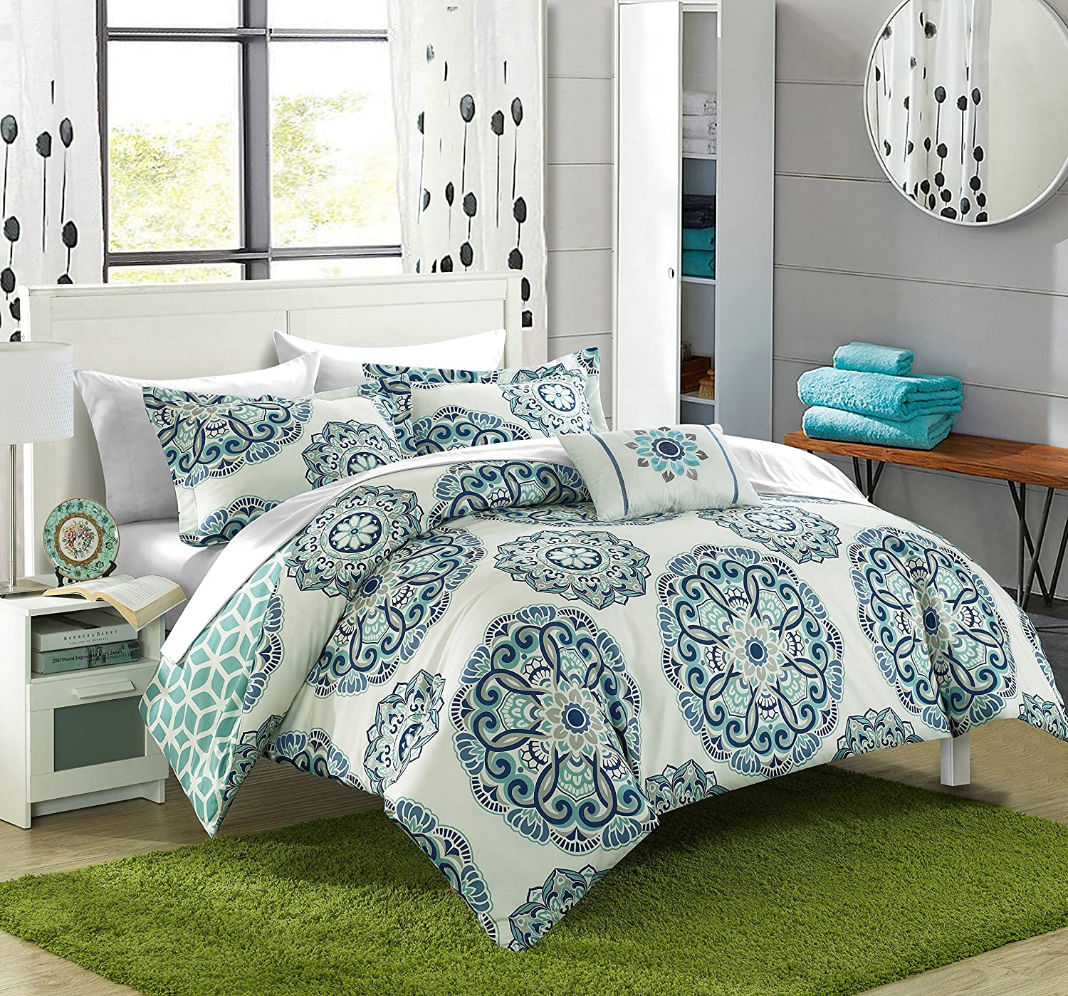 Chic Home Barcelona 8 Piece Reversible Comforter Set Super Soft Microfiber Large Printed Medallion Design with Geometric