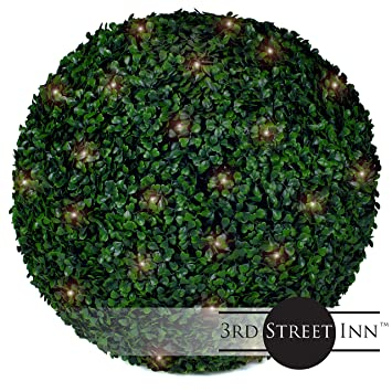 Amazon boxwood lighted topiary ball 19 artificial pre lit boxwood lighted topiary ball 19quot artificial pre lit christmas topiary plant indoor workwithnaturefo