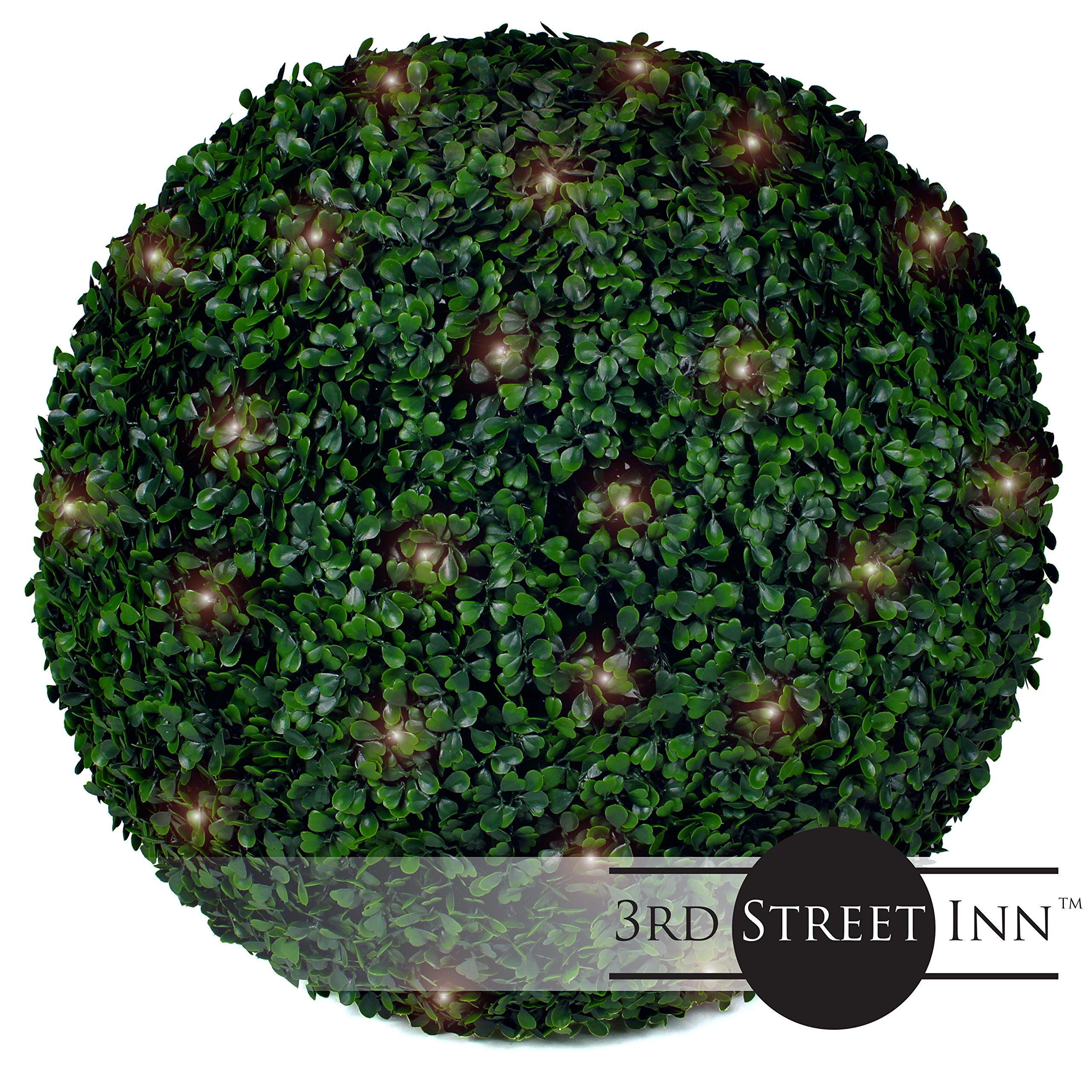 Boxwood Lighted Topiary Ball - 19'' Artificial Pre-Lit Christmas Topiary Plant - Indoor/Outdoor Decorative Light Plant Ball - Wedding and Holiday Decor (2-Pack) by 3rd Street Inn